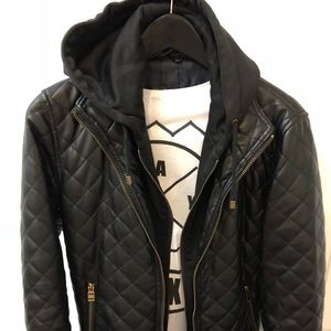 Zara black faux quilted leather jacket w/ hoodie